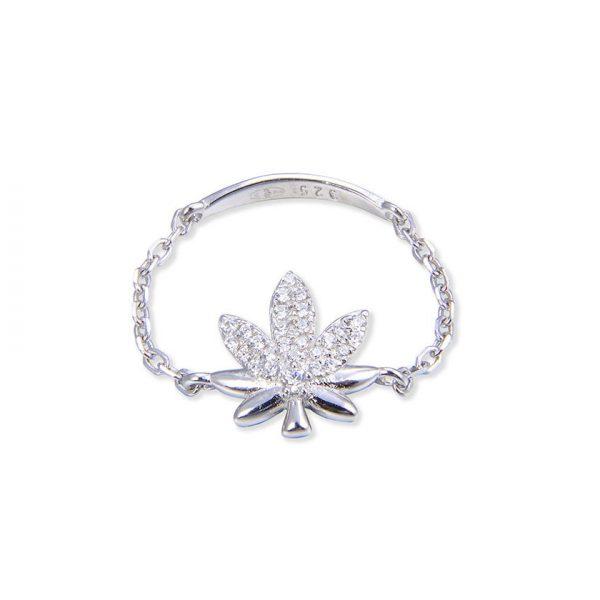 bague-chaine-marijuana-argent-zirconium