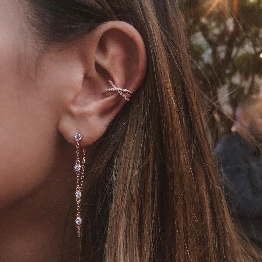 boucles d'oreilles pendantes chaine
