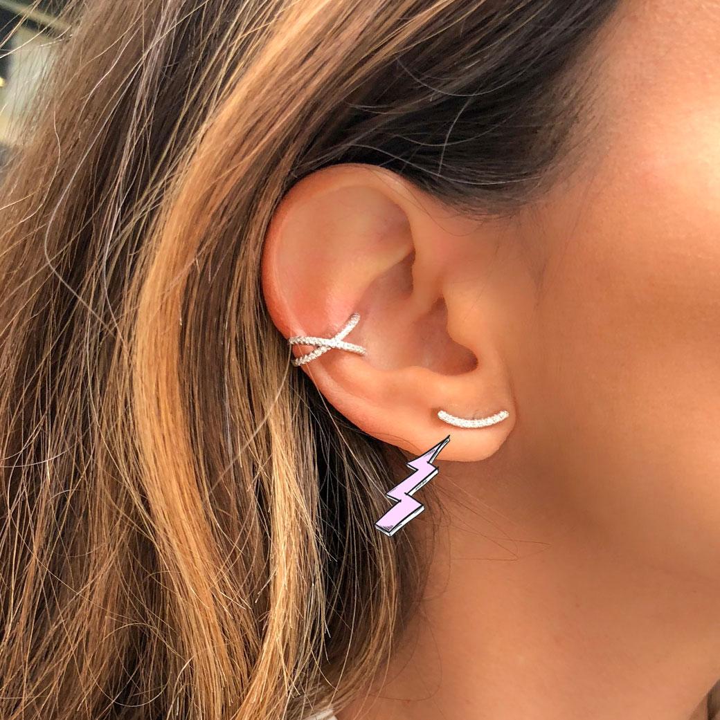 boucle d'oreille argent barre