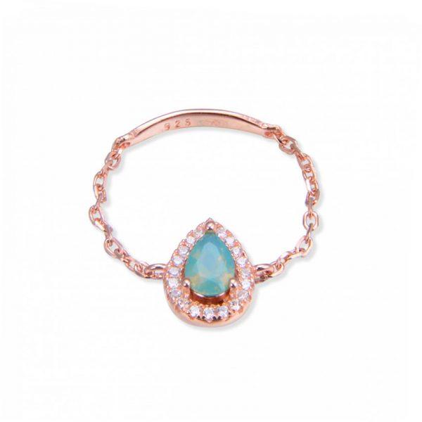 bague-chaine-goutte-eau-turquoise-plaque-or-rose