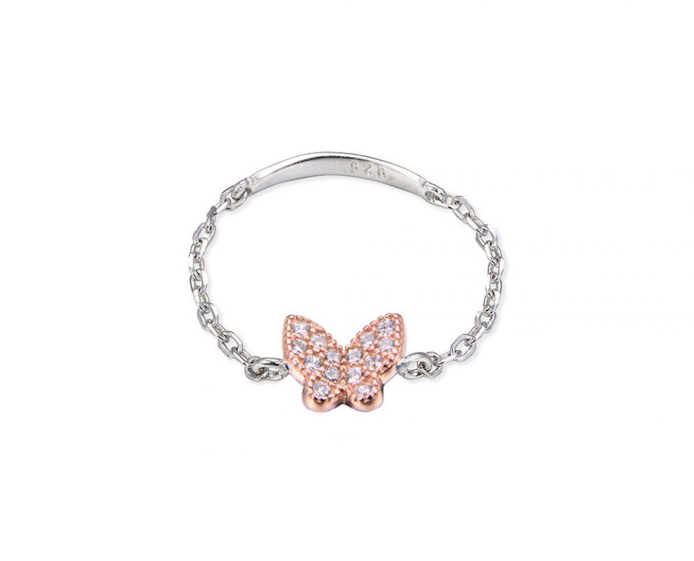 bague-chaine-papillon-bicolore-argent-or-rose-zirconium