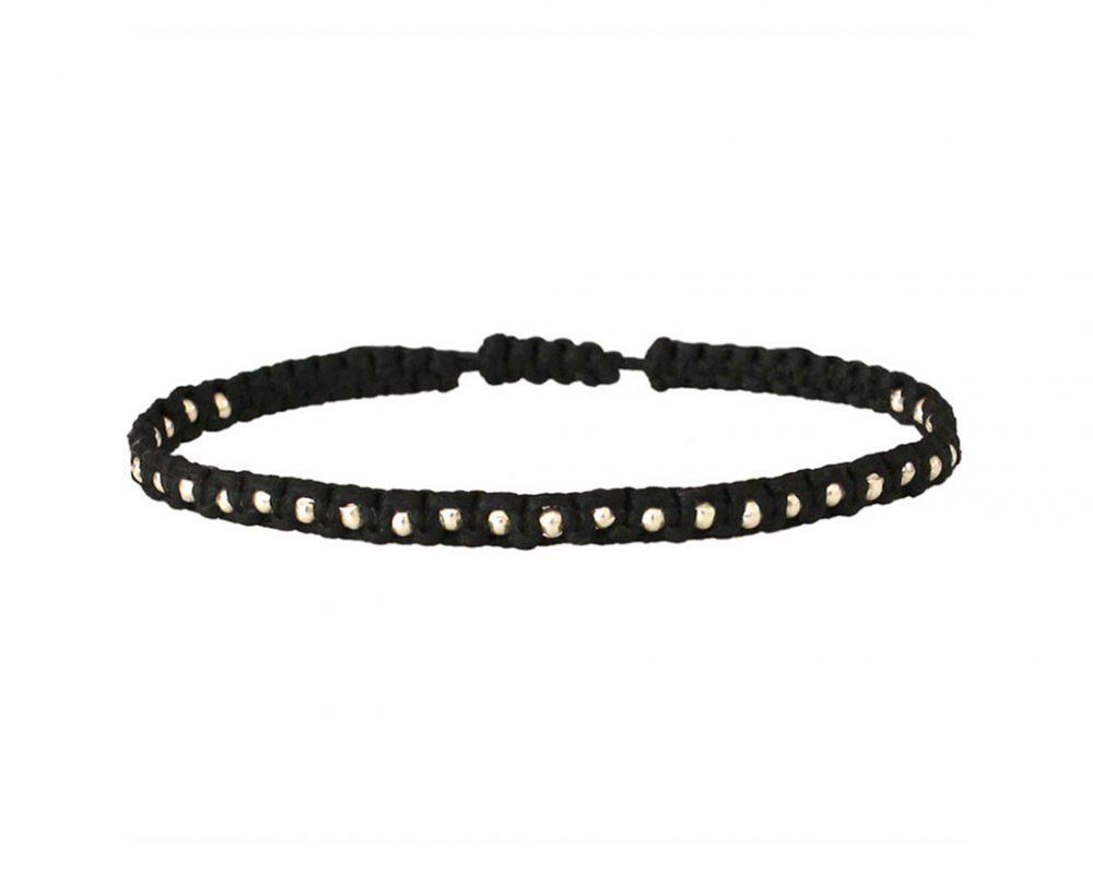 bracelet-pour-homme-noir-corde-perles-argent