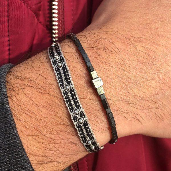 bracelet-tendance-tissu-homme-noir-billes-argent
