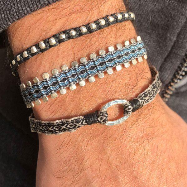 bracelet-tissu-bresilien-noir-argent-925