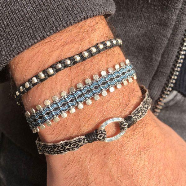 bracelet-pour-homme-bleu-en-tissu-argent