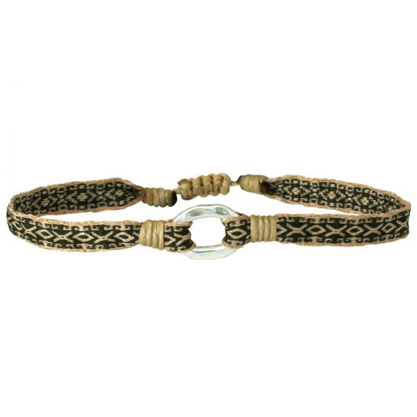bracelet-tisse-kaki-beige-argent-925-leju