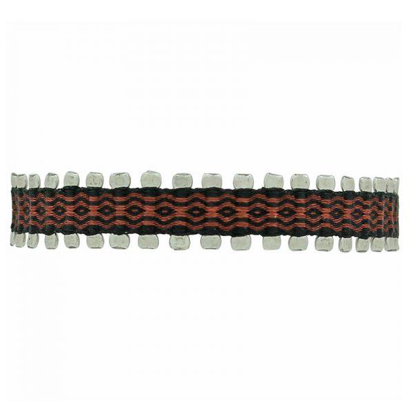 bracelet-tissu-homme-rouge-noir-argent-925-leju