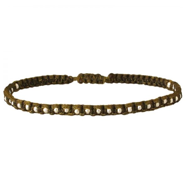 bracelet-homme-kaki-corde-billes-argent