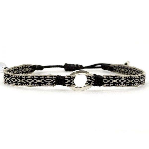 bracelet-tissu-bresilien-homme-noir-argent-925