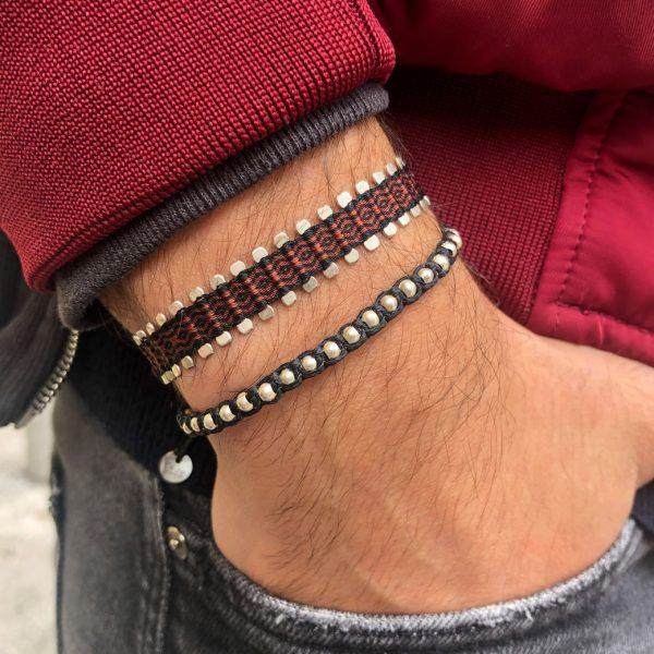 bracelet-homme-tresse-noir-rouge-argent-925-leju