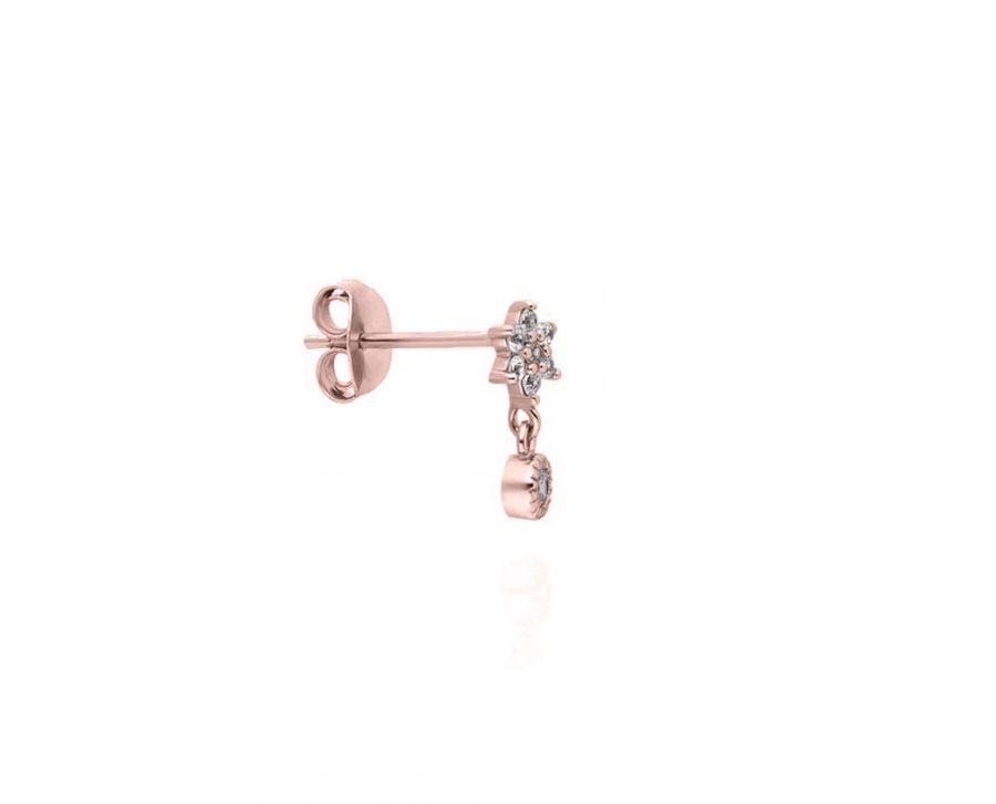puce-oreille-fleur-pendentif-rond-plaque-or-rose-zirconium