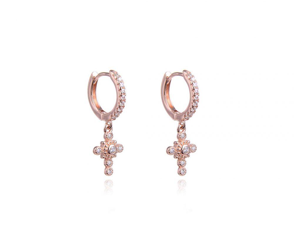 mini-creoles-croix-brillantes-plaque-or-rose-zirconium