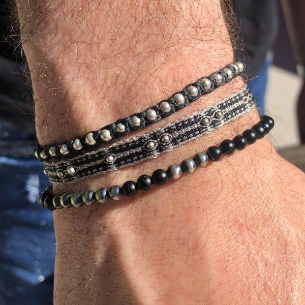bracelet-pour-homme-bicolore-perles-noires-argent