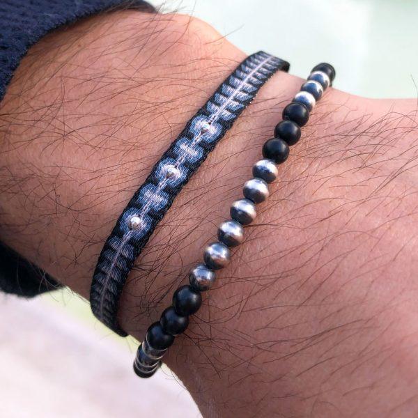 bracelet-tissu-bleu-noir-perles-argent-925-homme