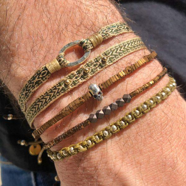 bracelet-tresse-homme-kaki-beige-perles-dorees