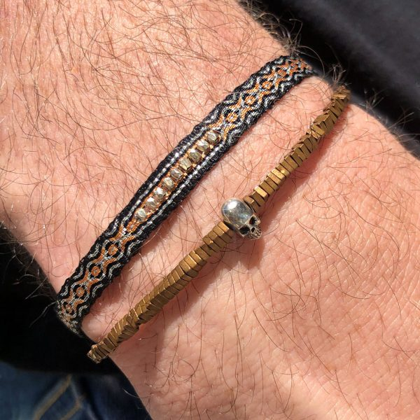 bracelet-ethnique-homme-tresse-noir-orange-perles-argent