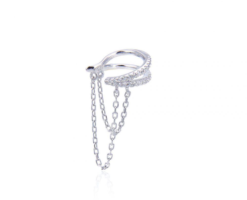 faux-piercing-oreille-chaine-pendante-argent-zirconium