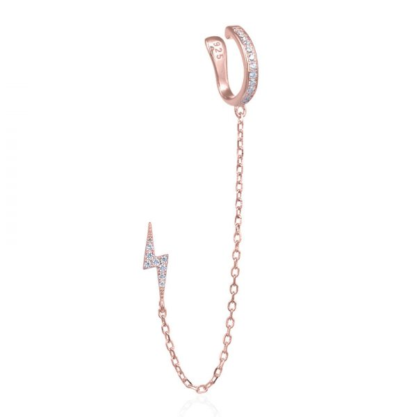 boucle-oreille-eclair-chainette-faux-piercing-plaque-or-rose