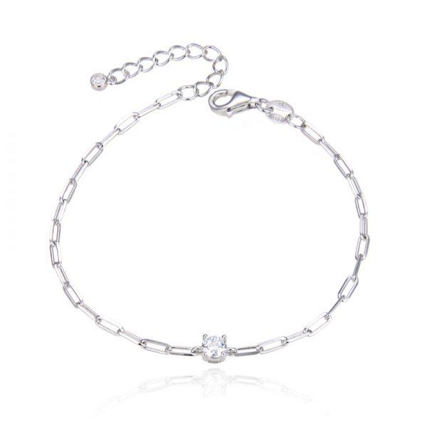bracelet-chaine-maillons-solitaire-argent-brillant